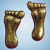 Original Signed Hubert Harmon Feet Foot Earrings Brass Silver