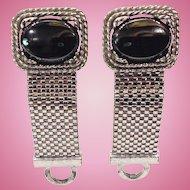 Wraparound Cufflinks Hematite & Silver Tone 1950s