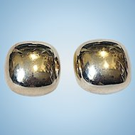 Mexican Sterling Large Button Clip Earrings Signed IP-01