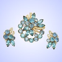 Eisenberg Ice Aqua & Blue Rhinestone Pin Earrings Set Gold tone