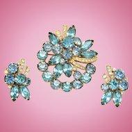 Eisenberg Ice Aqua & Blue Rhinestone Pin Earrings Set Gold tone