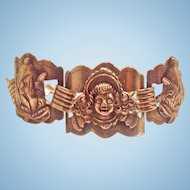 Peruvian Peru Silver Angel Panel Bracelet Silver Signed M.E.K