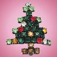 Christmas Tree Pin / Brooch Vintage Book Piece! Multicolor Rhinestones Silver Tone