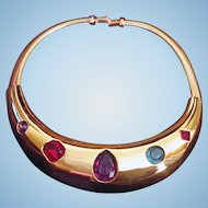 Givenchy Multicolor Rhinestone Gold Tone Collar 1980s Statement Necklace