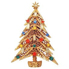 Vintage ART Christmas Candle Tree Pin Brooch Multicolor Rhinestone Gold Tone Book Piece!