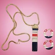Lanvin Lucite Long Pendant Necklace Earrings Set Gold Tone