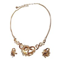 Trifari 1950s Necklace Clip Earrings Set Baguette Navette Rhinestone Gold Tone