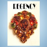 Regency Autumn Colors Rhinestone Pin / Pendant Brooch GT Signed