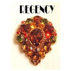 Regency Autumn Colors Rhinestone Pin / Pendant Brooch GT Signed