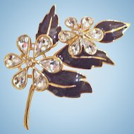 Trifari Signed Floral Pin Brooch Enamel Rhinestone Gold Tone