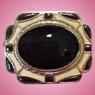 Vintage Art Deco Pin Brooch Black White Enamel Silver Tone