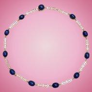 Art Deco Sterling Silver Deep Blue Lapis Glass Necklace Choker
