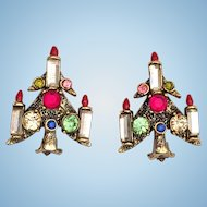 Pakula Christmas Candle Tree Rhinestone Clip Earrings