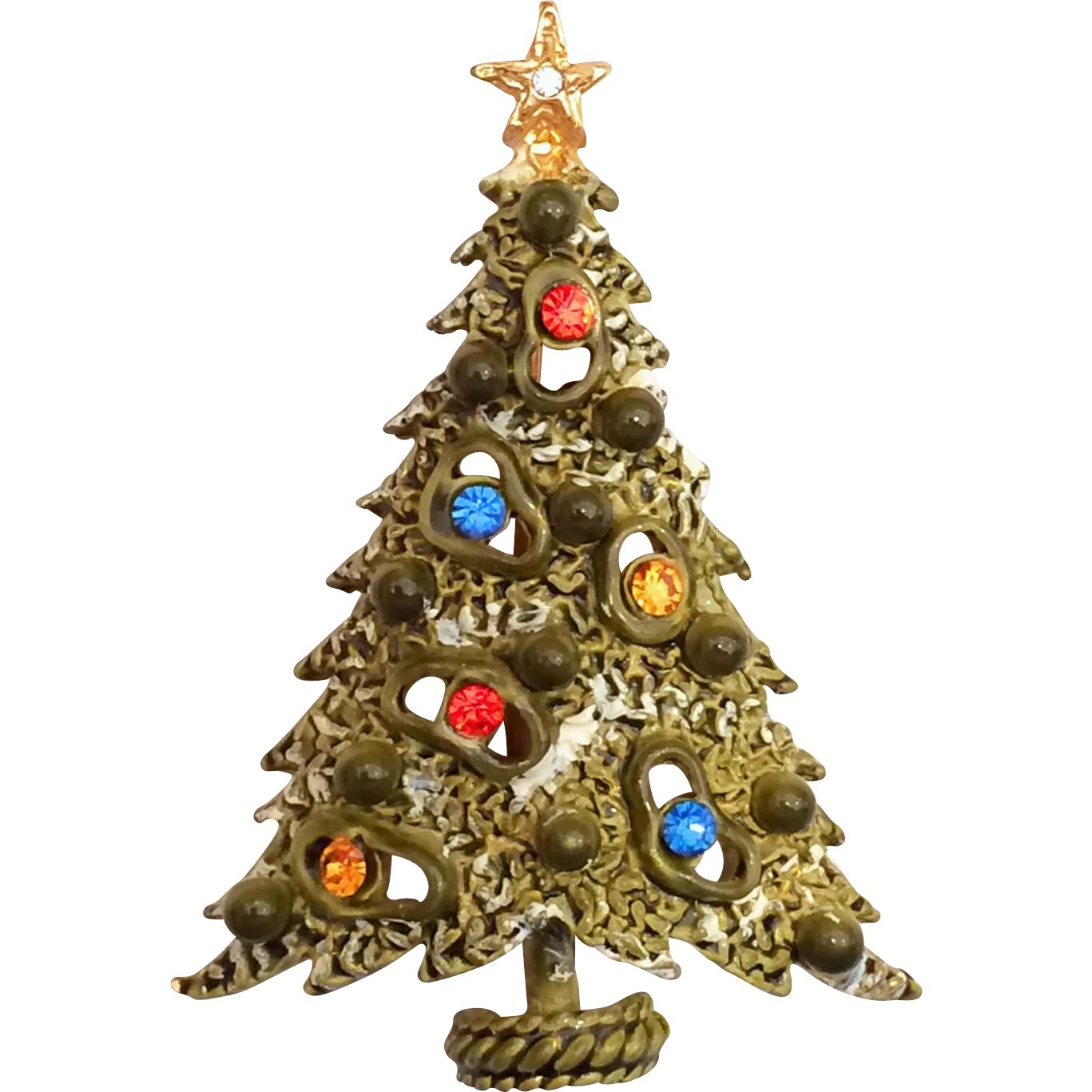 Art signed rhinestone christmas tree pin brooch amoeba for Best place to sell gold jewelry in chicago