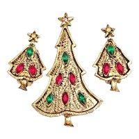 Rhinestone Christmas Tree Pin Brooch Clip Earrings Red Green Gold Tone