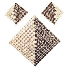 Rhinestone Pyramid Pin Brooch / Pendant Clip Earrings Set