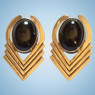 Taxco Mexican Sterling Silver Black Stone Clip Earrings 26.5 grams