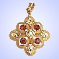 Sarah Coventry Rhinestone Pendant Necklace Gold Tone