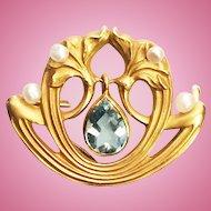 Art Nouveau 14K Watch Pin Brooch One Carat Aquamarine Dangle
