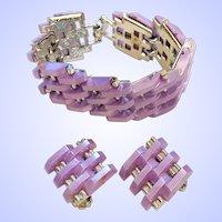 Amazing Moonglow Tank Track Bracelet Earrings Set Lavender
