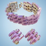 Amazing Moonglow Tank Track Bracelet Earrings Set Lavender
