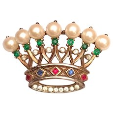 Trifari Crown Pin Brooch Simulated Pearls Rhinestones Gold Over Sterling