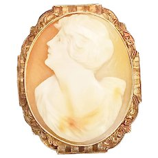 Ostby Barton 10K Yellow Gold Hand Carved Shell Cameo Pin Brooch