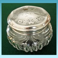Cut Glass Powder/Dresser Jar Sterling Lid by R. Wallace & Sons