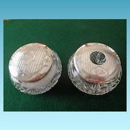 Cut Glass & Sterling Dresser Jar With Matching Hair Receiver