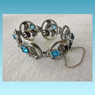 Charming Vintage Sterling Bracelet With Blue Stones