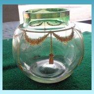 Pretty Art Glass Bowl Gold Enamel Decoration