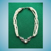 Fabulous Sterling  Faux Pearl and Marcasite Deco Style Necklace JJ Jewelry