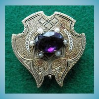 Victorian 14K Brooch / Watch Pin Amethyst Seed Pearls