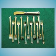 "12 Sterling Cocktail Forks & Spreader -  Oneida Heirloom ""Damask Rose"""