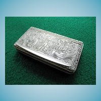 Antique 800 Silver Snuff Box Continental Origin