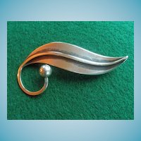 Modernist Taxco Sterling Leaf Pin by Delfino