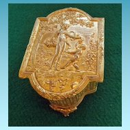 Antique Gilt Bronze Footed Box Lady & Cherub
