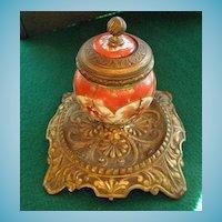 Antique Kutani Inkwell French Bronze Mounts