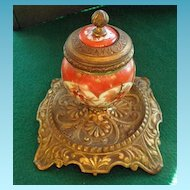 Antique Kutani Inkwell French Bronze Mounts