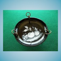 Bohemian Glass Dish On Tri-Pod Stand