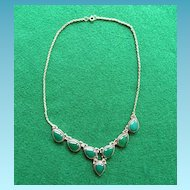 Vintage Sterling Chrysoprase Necklace