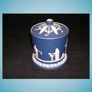 Antique Adams Jasperware Cobalt Blue Biscuit Jar