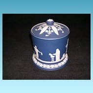 Antique Adams Jasperware Cobalt Blue Biscuit Jar
