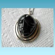 Sterling Designer Pendant With Carved Black Glass or Obsidian