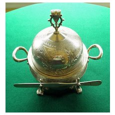 Fabulous Victorian Butter Dish Aesthetic Style Silverplate,  With Sterling Knife