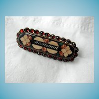 Karlsbad Pietra Dura Brooch/Pin With Garnets
