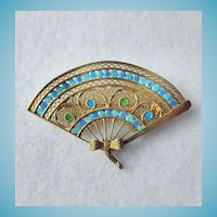 Gilt 800 Silver Chinese Enamel Fan Pin/Brooch