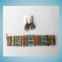Art Deco Egyptian Revival Bracelet & Earrings