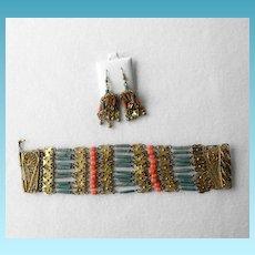 Art Deco Egyptian Revival Bracelet & Earrings