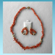 Branch Coral & Sterling Necklace & Matching Earrings